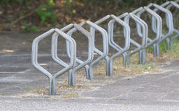 Bike rack in front of a school Stock Photos