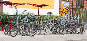 Bike Rack. Kensington Market Bike rack  in Toronto Stock Image