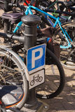 Bike Racks and Sign royalty free stock image