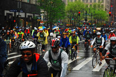 Bike Rally. Riders in the Rain in New Yorks Five Borough Bike Tour Stock Photography