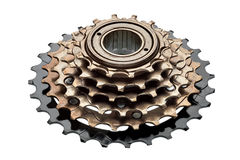 Bike rear cassette, stars of speeds. Bike rear cassette, bicycle spare parts, on a white background royalty free stock photo