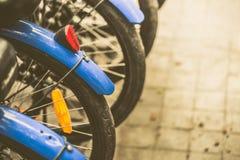 Bike rear vintage color tone. Bike rear vintage color tone, bikes parking for rent university campus for student Royalty Free Stock Image