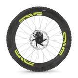 Bike rear wheel against white. 3D illustration stock illustration