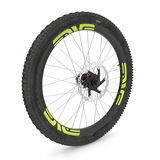Bike rear wheel against white. 3D illustration. Bike rear wheel against white background. 3D illustration Stock Photo