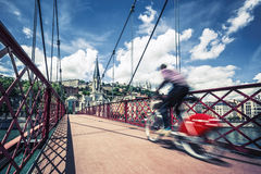 Bike on red footbridge Royalty Free Stock Image