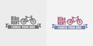 Bike rent vector color and monochrome logo, label or symbol. Design template Stock Illustration