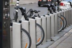 Bike rental. Rack bike rental in Montreal City, Canada Stock Photo