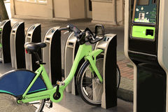 Bike Rental City bikes for rent Rental bicycles dockmotor. Bike Royalty Free Stock Photos