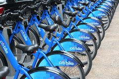 Bike rental in New York. NEW YORK - JULY 2: Citibike bicycle sharing station on July 2, 2013 in New York. WIth 330 stations and 6,000 bicycles it is one of top Stock Photo