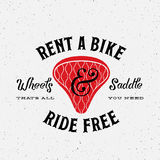 Bike Rental Retro Vector Label or Logo Template. On Textured Background Royalty Free Stock Photo