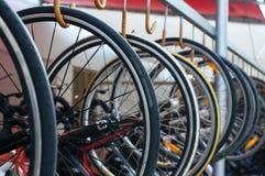 Bike rental service. Many of bicycle wheels. Bike rental service Royalty Free Stock Photos