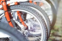 Bike rental service for a sustainable transport in the city. Empty copy space. For Editor`s text Stock Photography