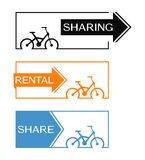 Bike rental and sharing banner with cycle icon Stock Photography