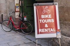 Bike rental shop in El Born quarter. Stock Photo