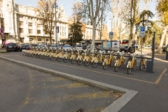 Bike rental stall. From Milan, Italy Royalty Free Stock Photography