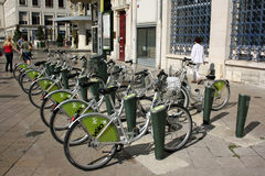 Bike rental station. City bike rental station in Olreans (France Stock Photo