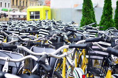 Bike rental station in Brasov old city Royalty Free Stock Images