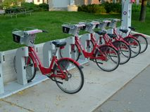 Bike rental station downtown madison,wi. Community bike rental in madison Wisconsin Stock Image