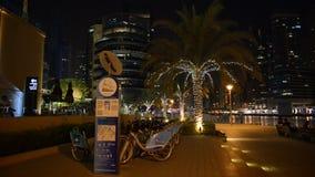 The bike rental station in Dubai Marina of nextbike stock video