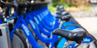 Bike rental station in new york city - USA Royalty Free Stock Images