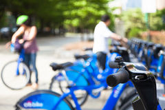 Bike rental station in new york city - USA Stock Image