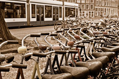 A bike rental station on a rainy day in Amsterdam Stock Photography