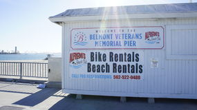 Bike Rentals, Beach Rentals. At the Belmont Veterans Memorial Pier is the office for the bike rentals and beach rentals open for public Royalty Free Stock Photography