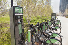 Bike rentals kiosk toronto. TORONTO - MAY 5, 2015: Bike Share is Toronto's system which launched in May of 2011 with a network of 800 bicycles and 80 stations Royalty Free Stock Images