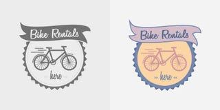 Bike rentals vector logo, label or badge design. Royalty Free Stock Image