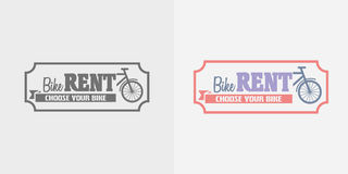 Bike rentals vector logo, label or badge design template. Royalty Free Stock Photography