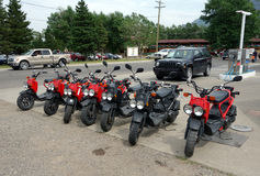 Bike rentals at waterton park in canada. stock photos