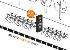 Bike renting station vector illustration Royalty Free Stock Image