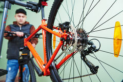 Bike repair or adjustment Stock Photography