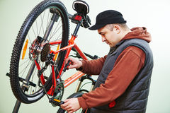 Bike repair or adjustment Royalty Free Stock Photo