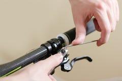 Bike repair. Repair hydraulic disc brakes. Bicycle fixing. Hex w Royalty Free Stock Image