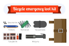 Bike repair tool kit. Bicycle emergency tool kit with tool bag. Isolated vector illustration Stock Photos