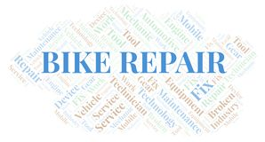 Bike Repair word cloud. Wordcloud made with text only vector illustration