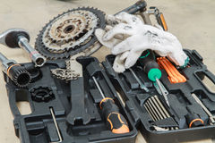 Bike repairing spare parts and tools box Royalty Free Stock Photography