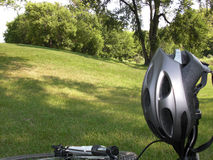 Bike Rest Stop 2. Stopping for a rest in Omands Park along the bike trail Royalty Free Stock Photography