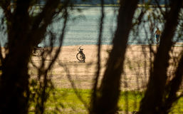 Bike resting on the Danube's beach, Romania Royalty Free Stock Images