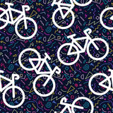 Bike retro seamless pattern outline 80s color Royalty Free Stock Photos