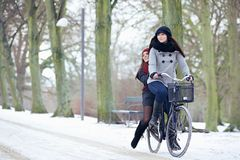 Free Bike Ride In The Winter Park Stock Photo - 34192770