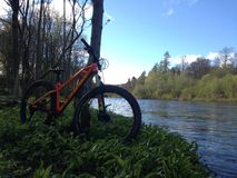 Bike ride. By the river Stock Images
