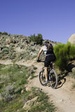 Bike rider. Mountain bike rider with copy space in the sky Stock Image