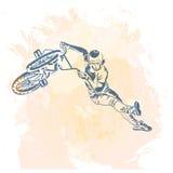 Bike rider jumping. stock illustration