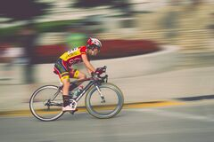 Bike rider in race Royalty Free Stock Images