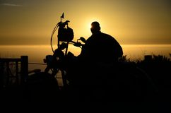Bike and rider silhouette Royalty Free Stock Images