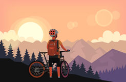 Bike rider watching sunset. Bike rider on top of the mountain with forest on the hills is watching sunset. Vector illustration poster Royalty Free Stock Photo