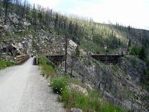 Bike rider on train trestle royalty free stock photos