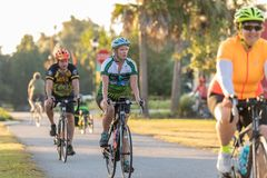 Bike riders approaching camera. stock images
